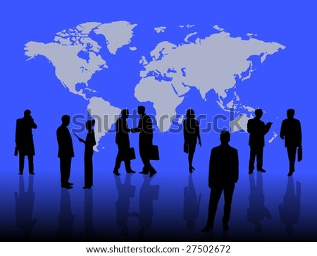 business people worldwide on blue background