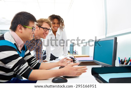 Business people young multi ethnic team in a computer desk office