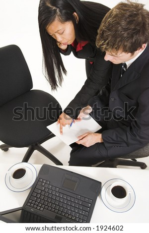 business peopleat work over white - stock photo