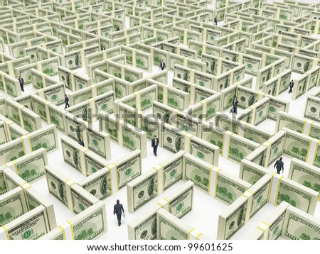 Business peoples in Financial Maze Labyrinth made of 100 usd banknotes. High resolution 3D rendering. - stock photo