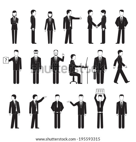 Business peoples silhouettes in different poses. Standing sitting at table and talking