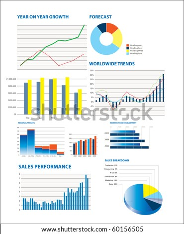 Business performance data including sales figures and charts - stock photo