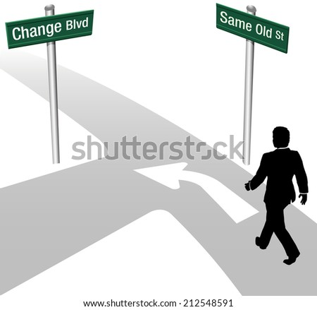 Business person decision to go same old way or change choose new path and direction - stock photo