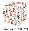 Business person group. Cube collage. Isolated on white background. - stock photo