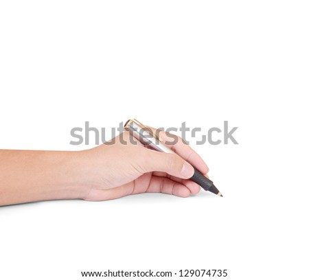 business person hand with pen over document - stock photo