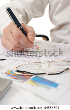 business person hands working with document - stock photo