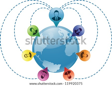 Business person is connected with people around the world - stock photo