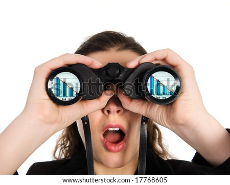 business person looking into binoculars to bankruptcy - stock photo