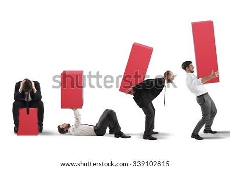Business person raises a statistic with fatigue - stock photo
