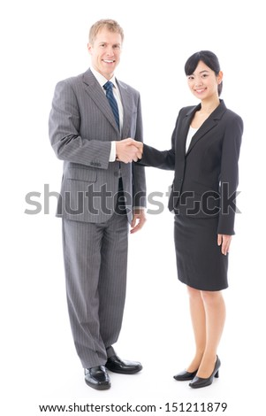 business person shaking hands on white background