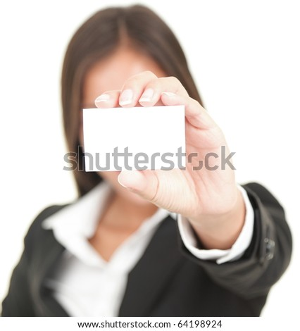 business person showing business card. Isolated on white background - stock photo