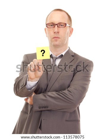 Business person showing removable note - stock photo