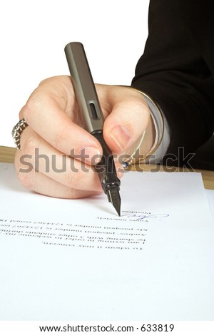business person signing a letter - stock photo