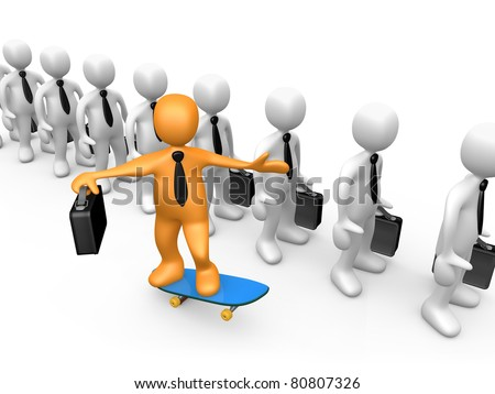 Business person skateboarding next to a line of waiting businessmen. - stock photo