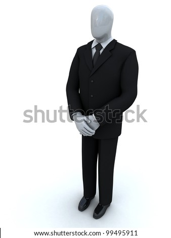 business person waits having lowered hands - stock photo