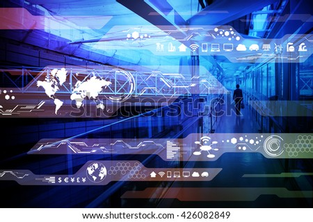 business person walking through building passage and technological interface, abstract image visual