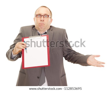 Business person with clipboard - stock photo
