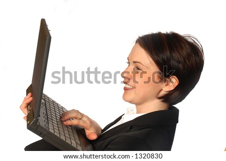 business person with laptop - stock photo