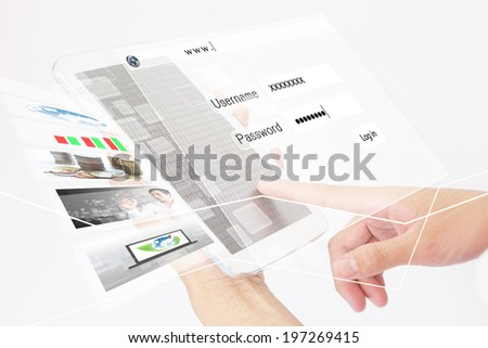 Business Person Working On A Digital Tablet,Using Internet Or Social Media Add  More Text  And Ideas - stock photo