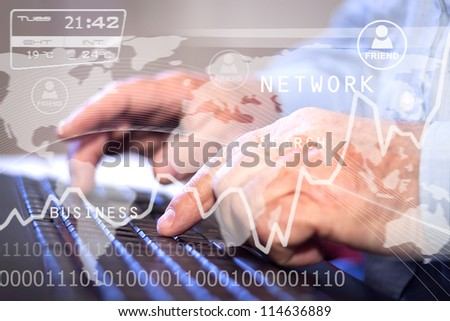 Business person working on computer. Technology background - stock photo