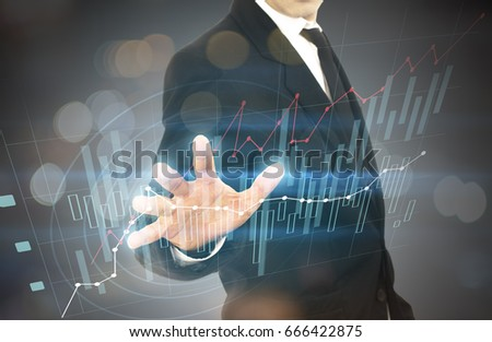 Business person working with graph modern virtual technology