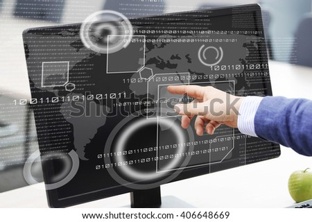 Business person working with modern virtual technology in the office - stock photo