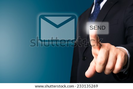 Business person working with modern virtual technology (sending mail) - stock photo