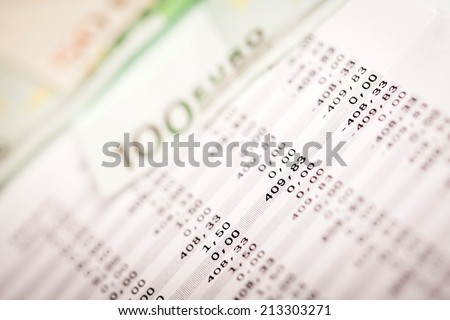 Business Photography: macro of euro and loan plan