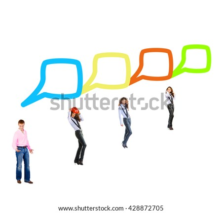 Business Picture Conversations in a Company  - stock photo