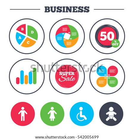 Business pie chart. Growth graph. WC toilet icons. Human male or female signs. Baby infant or toddler. Disabled handicapped invalid symbol. Super sale and discount buttons.