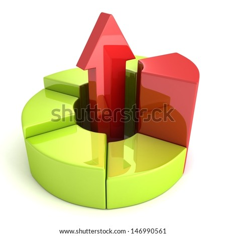 business pie chart with growing up red arrow - stock photo