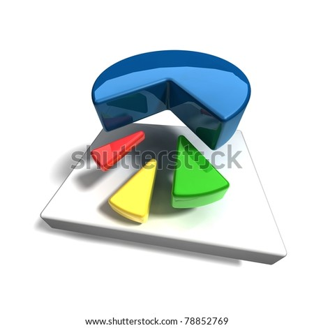 business pie graph on white background - stock photo
