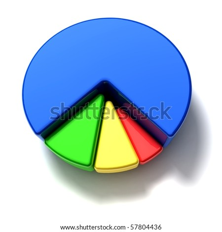 business pie graph on white background - top view - stock photo