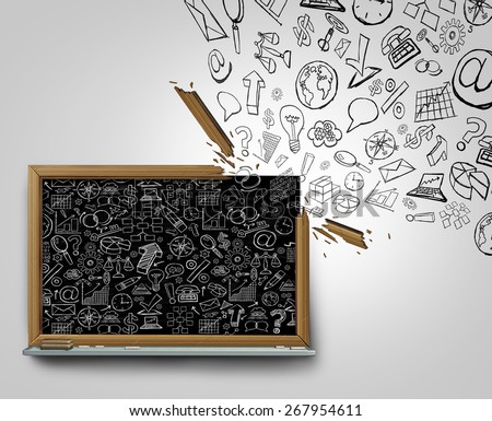 Business plan communication outside the box concept as a blackboard with financial office icons sketched on the surface breaking away with a broken frame spreading the strategy globally. - stock photo