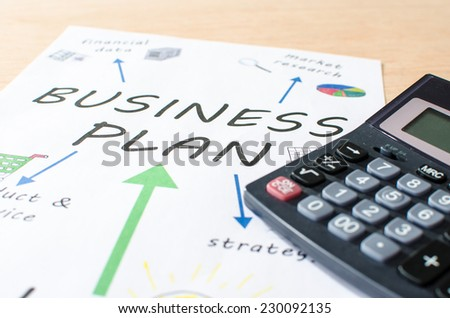 Business plan concept, closeup
