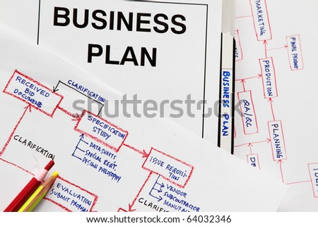 Business plan concept - with flowchart on how to manufacture a product. The sketch is my original works. - stock photo