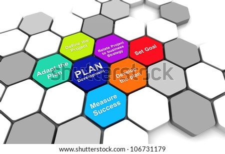 Business Plan 3D rendering Diagram connection beehive background - stock photo