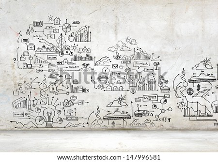 Business plan image with collage hand drawings - stock photo