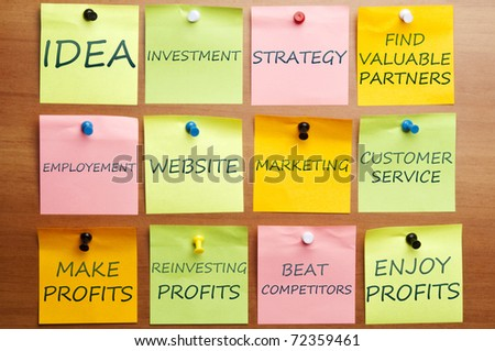 Business plan made of post it notes - stock photo