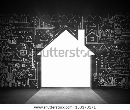 Business plan sketch on black wall. Construction concept - stock photo