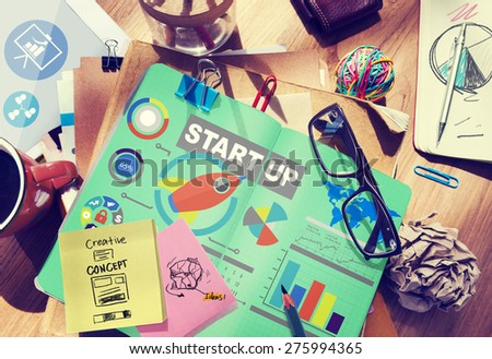 Business Plan Startup Strategy Innovation Vision Creativity Concept - stock photo