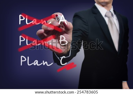 Business plan strategy changing. Crossing over Plan A, B, C. Busimessman sketching on virtual screen.  - stock photo