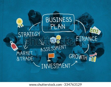 Business Plan Strategy Marketing Vision Finance Growth Concept - stock photo