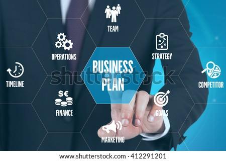 BUSINESS PLAN TECHNOLOGY COMMUNICATION TOUCHSCREEN FUTURISTIC CONCEPT - stock photo