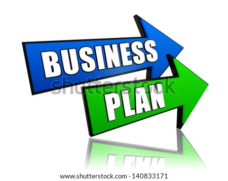 business plan - text in 3d arrows, business concept words - stock photo