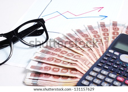 Business plan with graph and calculator,money and glass - stock photo