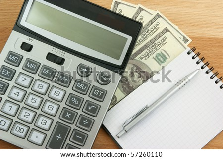 Business planning, calculator, money and notebook with pen on table