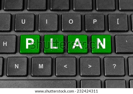 business planning green word on keyboard - stock photo