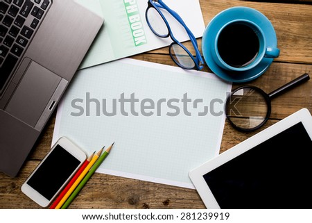 business planning on the wood table, business concept - stock photo