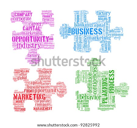 Business, planning process,marketing and opportunity info-text graphics and arrangement concept in the shape of jigsaw puzzle on white background - stock photo